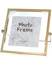 LELE LIFE Vintage Metal Photo Frame Picture Frame, Glass Photo Frame Metal Floating Picture Frame, Gold Photo FramePhoto Display for Desk, Vertical, 4x4in/10x10cm