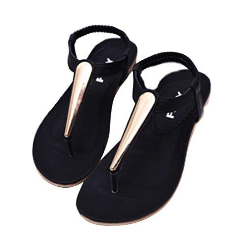 Vertvie Damen Sommer Schuhe Strandschuhe Offene T-Spangen Flats Thong Sandalen Zehentrenner Schuhe Strand Flip Flop Hausschuhe Schwarz