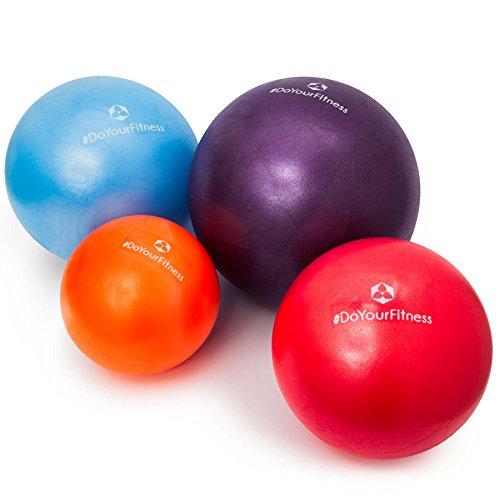 [4Stück] Mini Pilates Ball »Bola« Gymnastikball: Effektives Training gegen Verspannungen und Muskelschmerzen, in verschiedenen Größen (18cm 23cm 28cm & 33cm) und Farben (orange rot blau violett) erhältlich