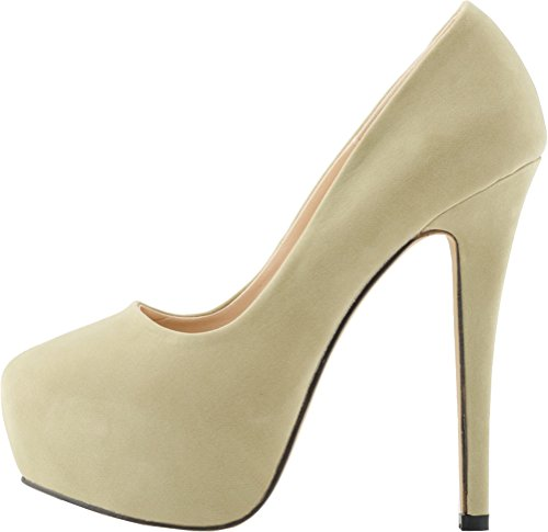 Salabobo Womens Sexy Fashion Night Club Party Platform Heighten High Heel Closed Toe Slip ON Nubuck Pumps Nude I52K6HePf