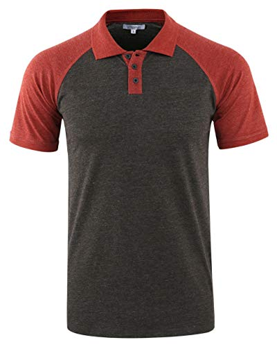 Vetemin Mens Casual Retro Short Sleeve Active Raglan Jersey Polo Henley T Shirt H.Charcoal/Rusty XL