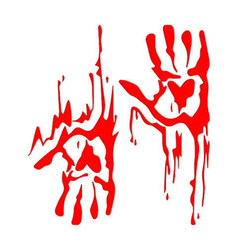 Fine Bloody Handprint Wall Sticker, Halloween Decorations Window Clings Bloody Human Handprint and Zombie Handprint Decals Living Room DIY Decoration (Red) (Best Wallpaper For Dining Room)