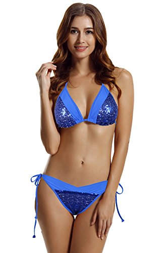zeraca Women's Plus Size Sexy Retro Sequins Triangle Bikini Swimwear XL Blue (Sequin Triangle)