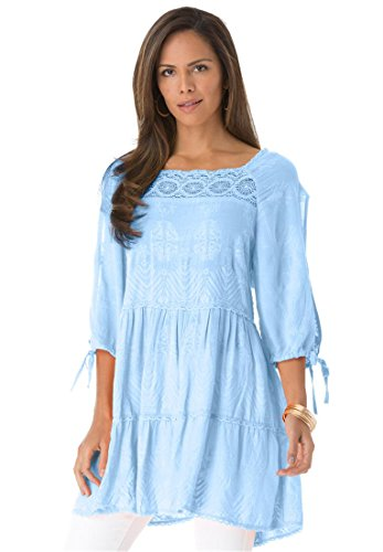 Roamans Women's Plus Size Embroidered Tier Tunic (Sky Blue,16 W)