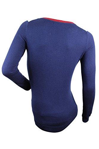 Tommy Hilfiger Women's Blue V Neck Color Block Sweater