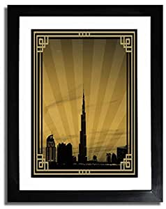 Dubai Skyline Down Town - Sepia With Gold Border No Text F07-m (a2) - Framed