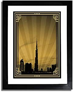 Dubai Skyline Down Town - Sepia With Gold Border No Text F07-m (a1) - Framed