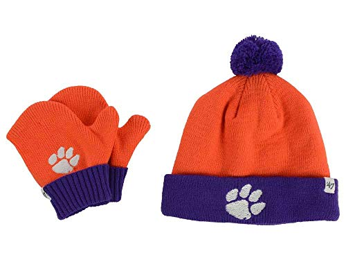 '47 Clemson Tigers Infant/Toddler Bam Bam Beanie Hat POM and Glove Gift Combo - NCAA Baby Knit Cap/Mittens