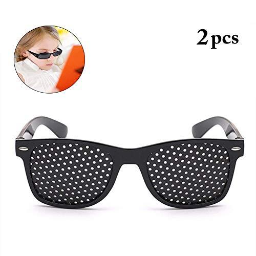 - 2 Pcs Black Pinhole Single Nose Glasses Microporous Anti-Fatigue Goggles Swap Vision Care Glasses Safety Glasses/Goggles Fashion Decorative Mirror (Color : Black Full Hole)