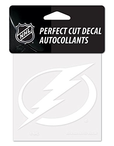 (WinCraft NHL Tampa Bay Lightning 4x4 Perfect Cut Decal White)
