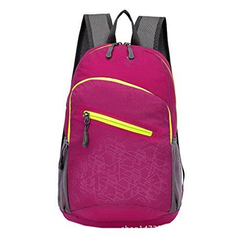 Shuang Yu Zuo Männlich Und Weiblich Ultra Light Outdoors Rucksack,Red Pink
