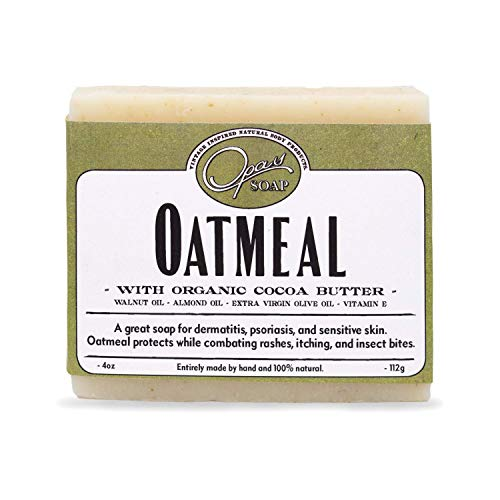 Opas Soap - 100% Natural Oatmeal Soap - UNSCENTED - with Organic Cocoa Butter and Organic Oats - Great for Sensitive Skin, Eczema or Psoriasis - for All Skin Types - Stops The itching and Irritation