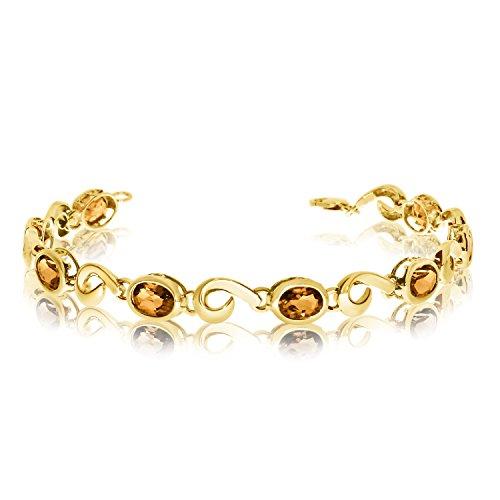 (5.12 Carat (ctw) 14k Yellow Gold Oval Citrine Hook Link Tennis Bracelet - 7