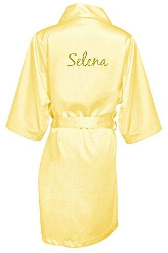 Women's Yellow Satin Custom Name in Glitter Robe L/XL 14-20]()