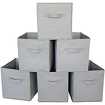 Square Storage Cube Fabric Basket (Set Of 6)   Grey