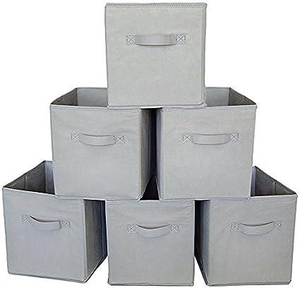 Square Storage Cube Fabric Basket (Set of 6) - Grey  sc 1 st  Amazon.com & Amazon.com: Square Storage Cube Fabric Basket (Set of 6) - Grey ...
