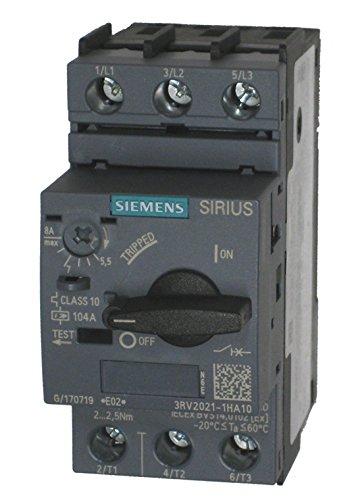 (SIEMENS 3RV2021-1HA10 Manual Motor Starter, 8 Rated Amps, 5.5-8.0 Amps Range)
