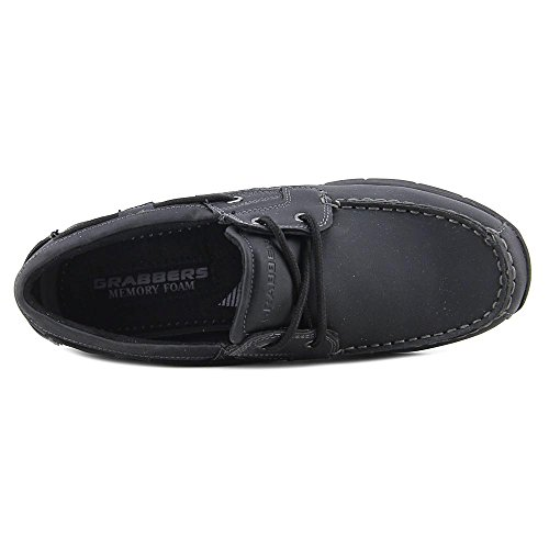 Grabbers Mens Runabout Two Eye Tie SD Leather, Rubber Boat Shoes Black