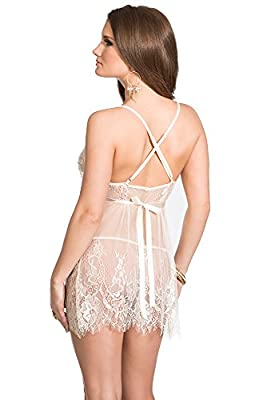 Coquette Women's Lace Babydoll and G-String Set
