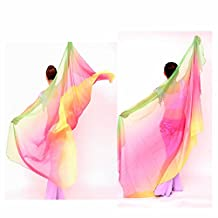 GOOTRADES Women Chiffon Belly Dance Shawl Veil Scarf Gradient Color (Rose Red)
