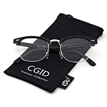Happy Store CN56 Vintage Inspired Horn Rimmed Nerd Wayfarers UV400 Clear Lens Glasses,Glossy Black
