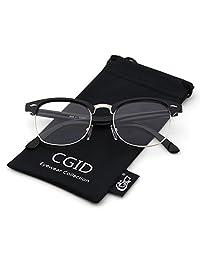 Happy Store CN56 Vintage Inspired Horn Rimmed Nerd Wayfarers UV400 Clear Lens Glasses,Glossy Black