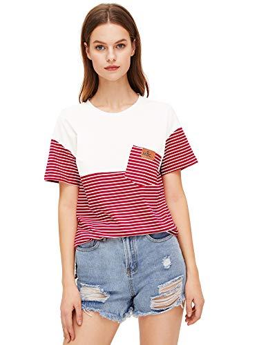 (SweatyRocks Women's Colorblock Summer Short Sleeve Casual Loose T-Shirt Crop Top (Medium, Red_White))
