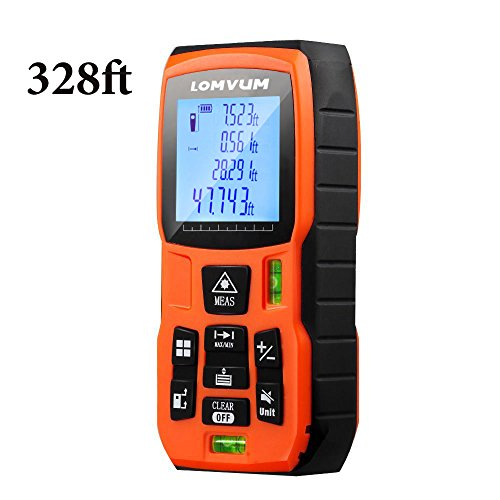 Lomvum Laser Measure 328Ft Ft/In/Meter with 2 Bubble Levels and Backlit LCD Display, Includes Area, Distance, Length, Volume, Continuous Measurement, with Storage Function, Reflective Panel Included