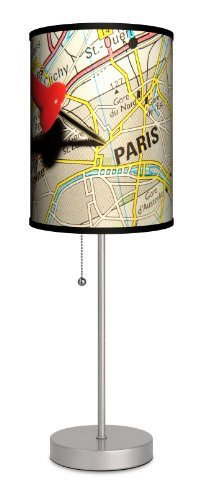 Travel - Pin Map Paris Sport Silver Lamp by Lamp-In-A-Box