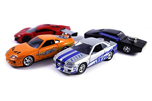 HCK Set of 4 Fast Furious Series Car Collection - Pull Back Toy Cars
