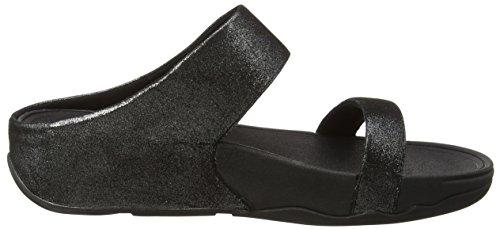 Fitflop Lulu Shimmersuede Slide Damen Sandalen Black (zwarte 001)