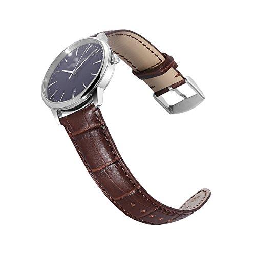 Calfskin Watch Band Genuine Calf Leather Replacement 18mm 20mm 22mm 24mm Strap Wrist Watchband Pin Buckle Clasp for Women Men (Band Watch Calfskin)
