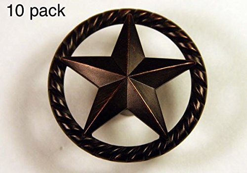 RAISED STAR KNOB ORB WESTERN CABINET HARDWARE DRAWER PULLS TEXAS STAR KNOBS (10)