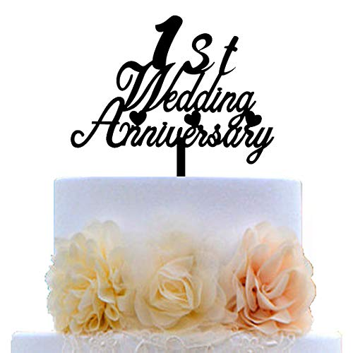 1st Wedding Anniversary Cake Topper for First Wedding Anniversary Party Decorations Ideas Supplies (Black Acrylic)