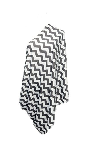 100% Cotton Infinity Nursing/Breastfeeding Scarf (Chevron Grey & White)