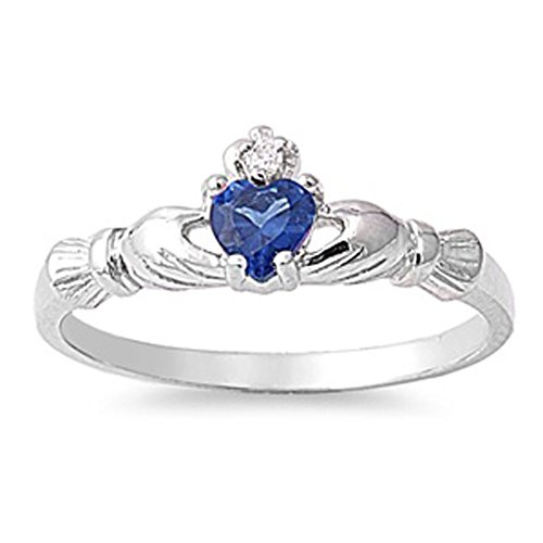 sapphire claddagh ring - 2
