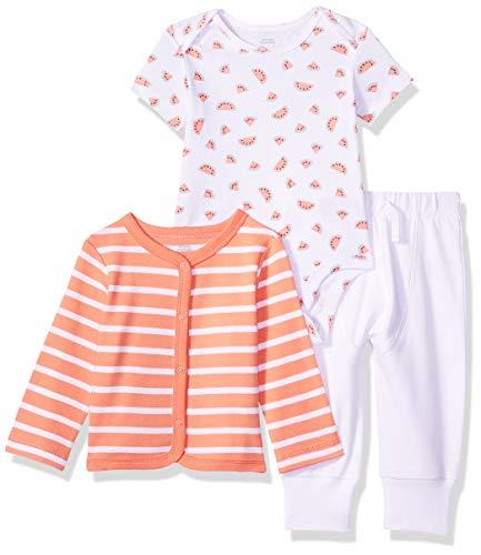 (Amazon Essentials Baby 3-Piece Cardigan Set, Girl Fruit, Preemie)