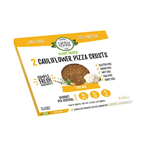 Cali'flour Foods Gluten Free, Dairy Free Plant Based Cauliflower Pizza Crusts - Vegan - 1 Box - (2 Total Crusts Per Box)