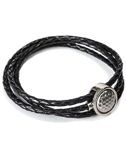 Mon Art Women's Braided Bracelet With Embossed Circle Metal Accent L Black by Mon Art