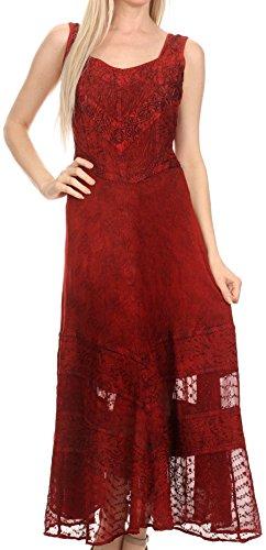 Sakkas 15225 - Zendaya Stonewashed Rayon Embroidered Floral Vine Sleeveless V-Neck Dress - red - L/XL