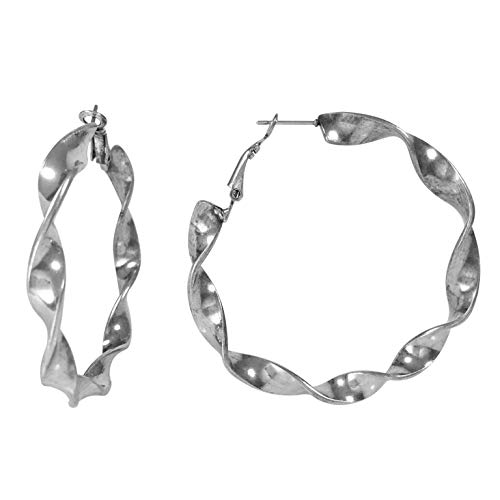 - Simple Smooth Large Hoop Earrings (Burnished Silver Tone Twisted)