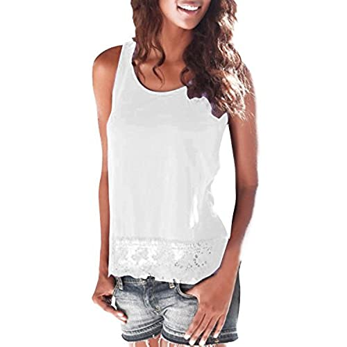StyleDome Women Casual Lace Sleeveless Round Neck Blouse Vest Shirt Tank  Tops White US 10