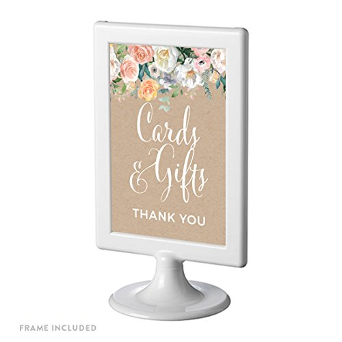 Andaz Press Peach Kraft Brown Rustic Floral Garden Party Wedding Collection, Framed Party Signs, Cards and Gifts Thank You, 4x6-inch, 1-Pack, Includes Frame -