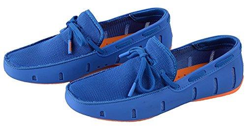 Go Tour Herren Driving Loafer Fashion Slipper Casual Slip auf Loafers Bootsschuhe für Strand, Pool, Stadt und Rundherum Komfort Blau-Orange