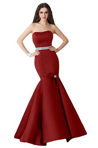 sunvary satén vaina de sirena trompeta vestir vestidos de noche vestidos de Rojo