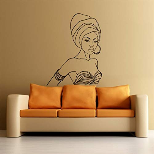 Beautiful Women Wall Sticker, Removable Wall Art Decal Sticker Decor Mural DIY for Living Room Bedroom Decoration (Black, One Size)