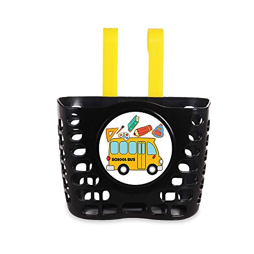 MINI-FACTORY Kid's Bike Basket, Cute School Bus Pattern Bicycle Handlebar Basket for Boy – School Bus