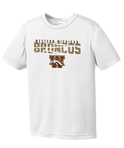 (NCAA Western Michigan Broncos Youth Boys Destroyed Short sleeve Polyester Competitor T-Shirt, Youth Large,White)