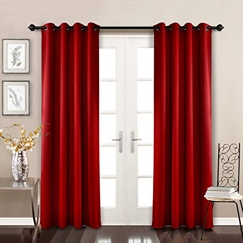 (MYSKY HOME Solid Grommet top Thermal Insulated Window Blackout Curtains for Dining Room, 52 x 84 Inch, Red, 1 Panel)