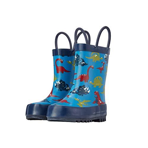 ADAMUMU Rain Boots Toddler Childrens Waterproof Rubber Shoes Lightweight Kids Rain Boots with Easy-On Handles for Boys & Girls,Toddlers Blue Cartoon Dinosaur ()